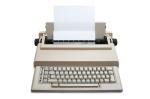 """""""Retro Electronic typewriter with sheet, isolated on white background"""""""